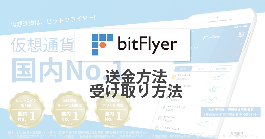 ビットフライヤー(bitFlyer)の送金方法・受け取り方法
