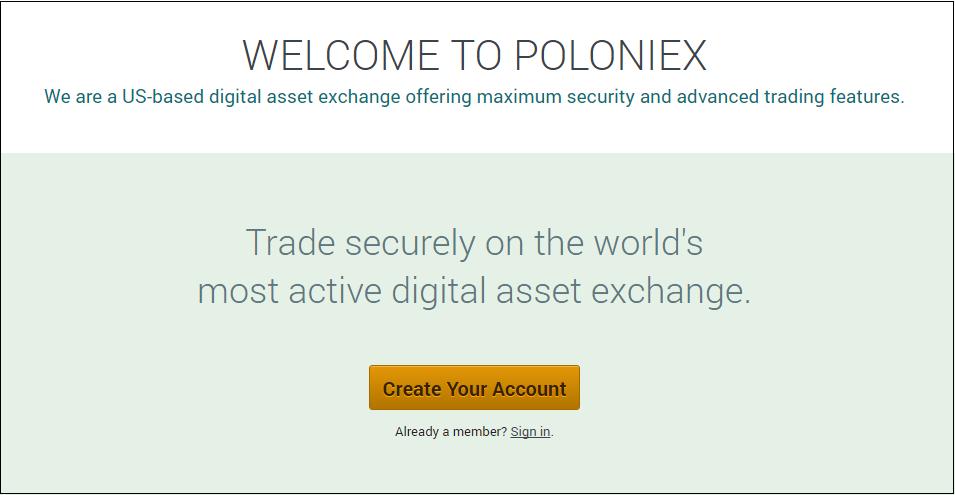 Poloniex(ポロニエックス)の口座開設画面