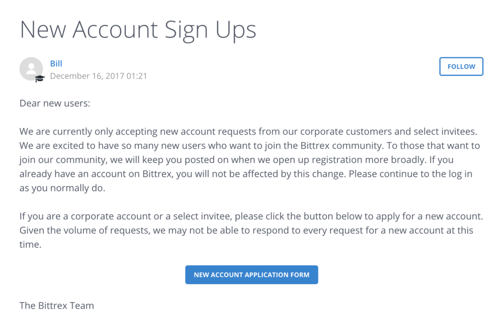 bittrexの新規登録を停止